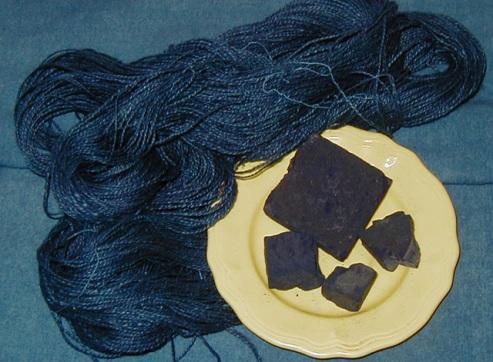 Indigo Dye and wool dyed