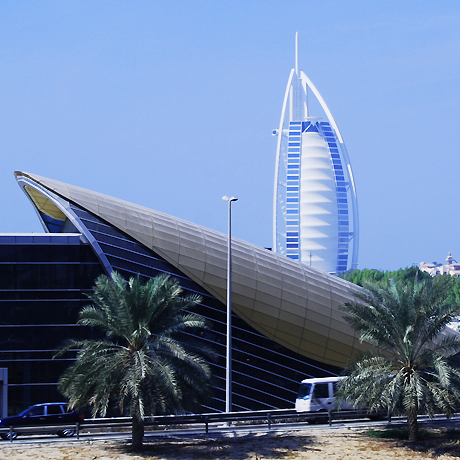 Burj Al Arab- Resembleing a billowing sail, a luxury Hotel, looks great in Dubai skyline.